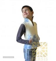Short felted silk sleeveless overcoat