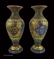 Decorative Painted & Engraved Niello Vase For Export